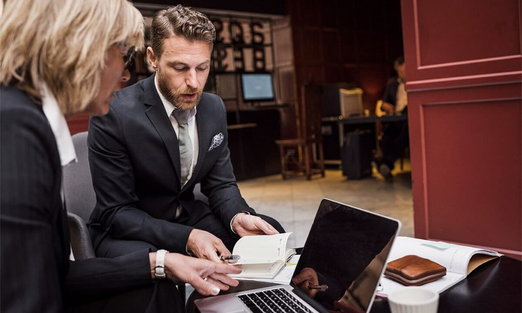 Business meeting between two people